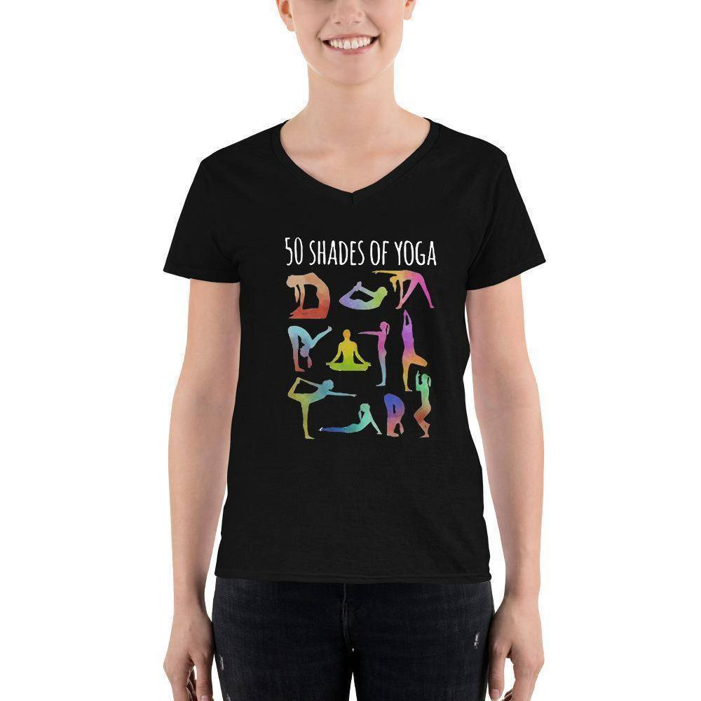 50 Shades Of Yoga Women's Casual V-Neck T-Shirt  -  S  -   - SNS Outlet