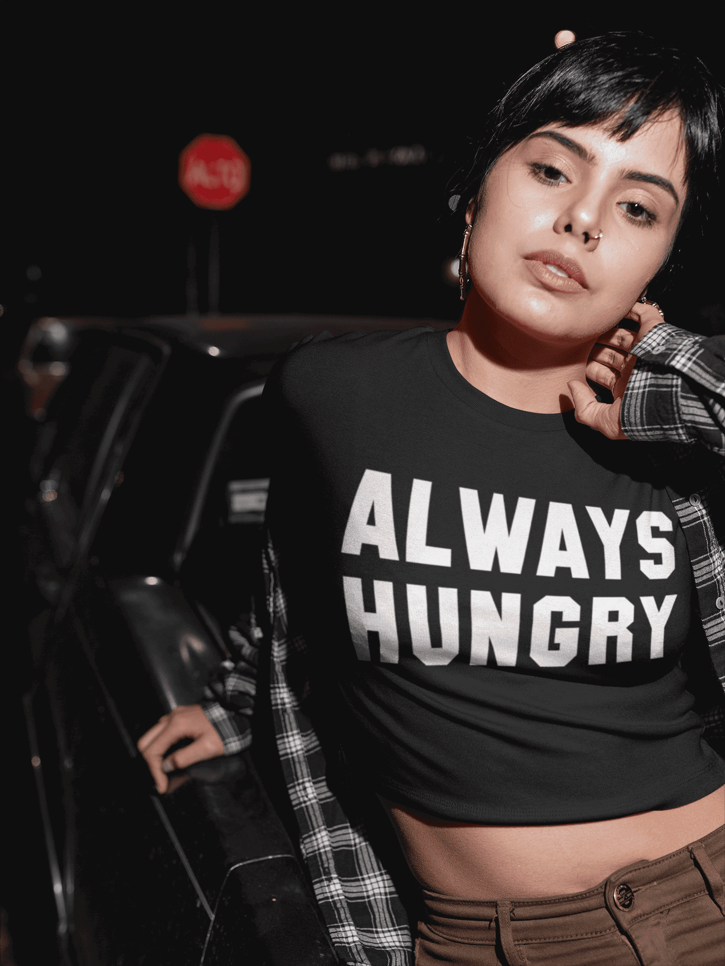 Always Hungry Black Top  -  XS/S / Black  -  Crop Top  - SNS Outlet