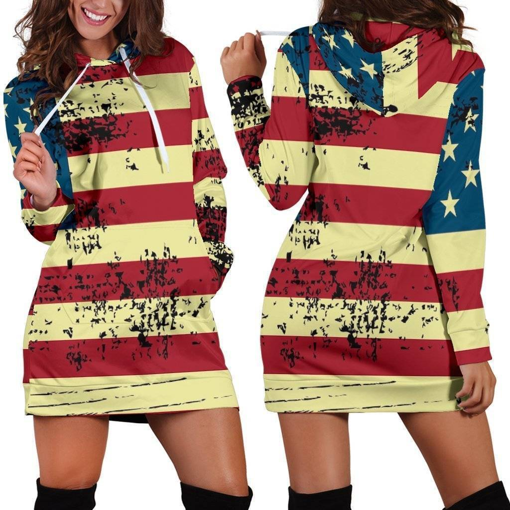 American Flag Hoodie Dress  -  Women's Hoodie Dress / XS  -  Hoodie Dress  - SNS Outlet