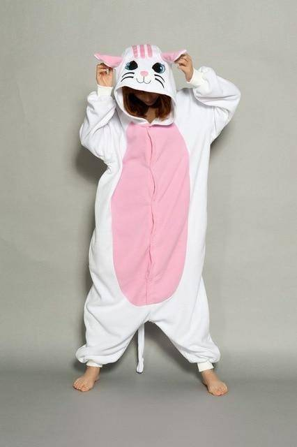 Animal Pajama Onesie  -  White cat / S  -  Pajamas  - SNS Outlet