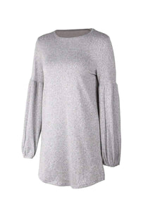 Autumn Winter™ Lantern Sleeve A Line Sweater Dress  -  grey / L  -  Sweater  - SNS Outlet