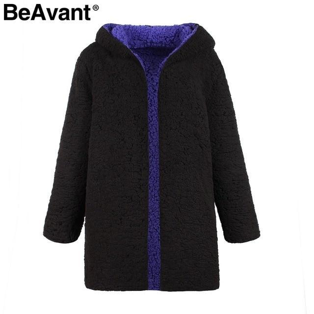BeAvant™ Women's Long Reversible Teddy Bear Coat With Hood  -  Black Purple / S  -  Teddy Bear Coat  - SNS Outlet