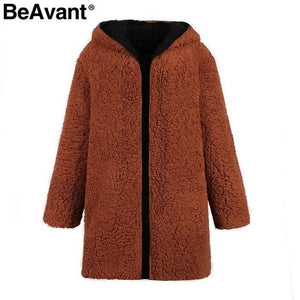 BeAvant™ Women's Long Reversible Teddy Coat With Hood  -  Black Purple / S  -  Teddy Bear Coat  - SNS Outlet