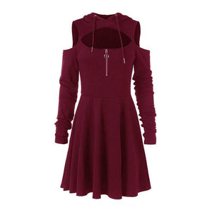 Bella Jane -  Hooded Pleated Hollow Off Shoulder Mini Dress  -  Burgundy / S  -  Gothic Dress  - SNS Outlet