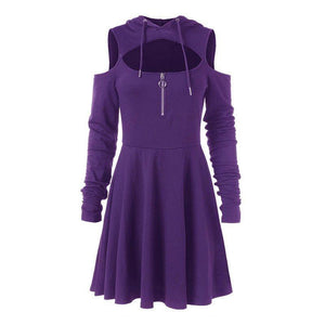 Bella Jane -  Hooded Pleated Hollow Off Shoulder Mini Dress  -  Purple / S  -  Gothic Dress  - SNS Outlet