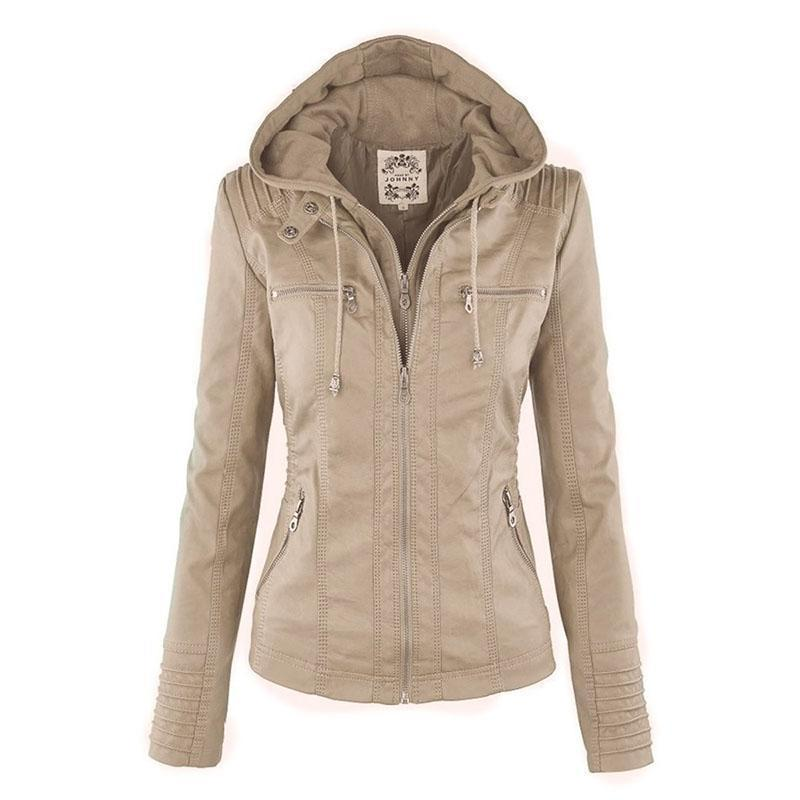 Bella Raven - Ladies Leather Look Biker Jacket (XS - 7XL)  -  Beige / XS  -  Leather Jacket  - SNS Outlet