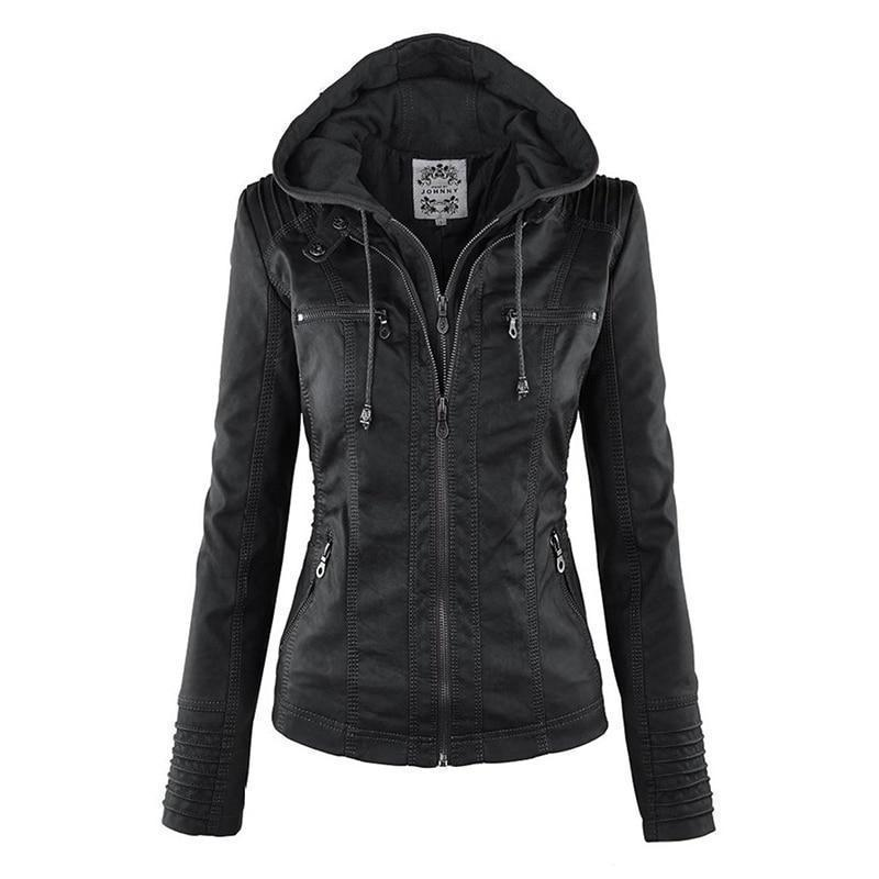 Bella Raven - Ladies Leather Look Biker Jacket (XS - 7XL)  -  Black / XS  -  Leather Jacket  - SNS Outlet
