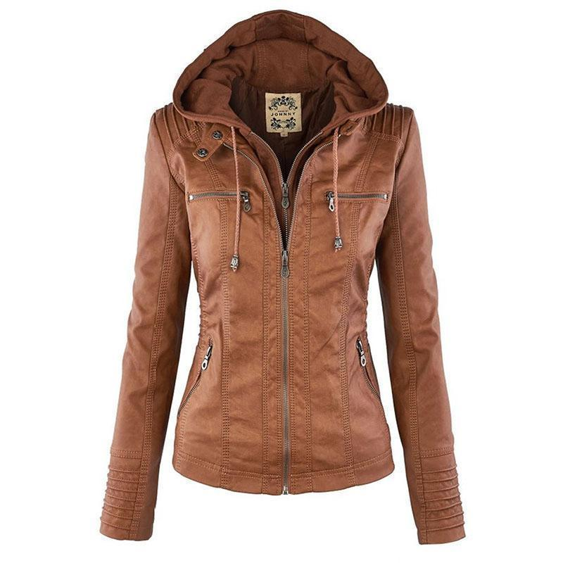 Bella Raven - Ladies Leather Look Biker Jacket (XS - 7XL)  -  Caramel Brown / XS  -  Leather Jacket  - SNS Outlet