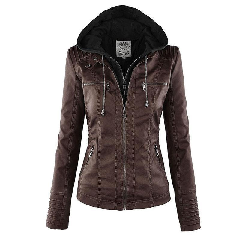 Bella Raven - Ladies Leather Look Biker Jacket (XS - 7XL)  -  Coffee Brown / XS  -  Leather Jacket  - SNS Outlet