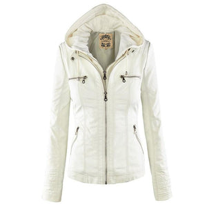 Bella Raven - Ladies Leather Look Biker Jacket (XS - 7XL)  -  White / XS  -  Leather Jacket  - SNS Outlet
