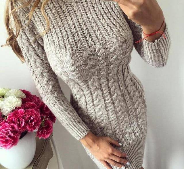 Bodycon Sweater Dress by I am Beauty™  -  Beige / S  -  Sweater  - SNS Outlet