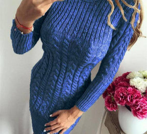 Bodycon Sweater Dress by I am Beauty™  -  Blue / S  -  Sweater  - SNS Outlet