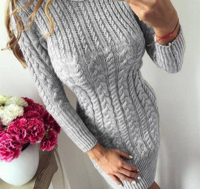 Bodycon Sweater Dress by I am Beauty™  -  Gray / S  -  Sweater  - SNS Outlet