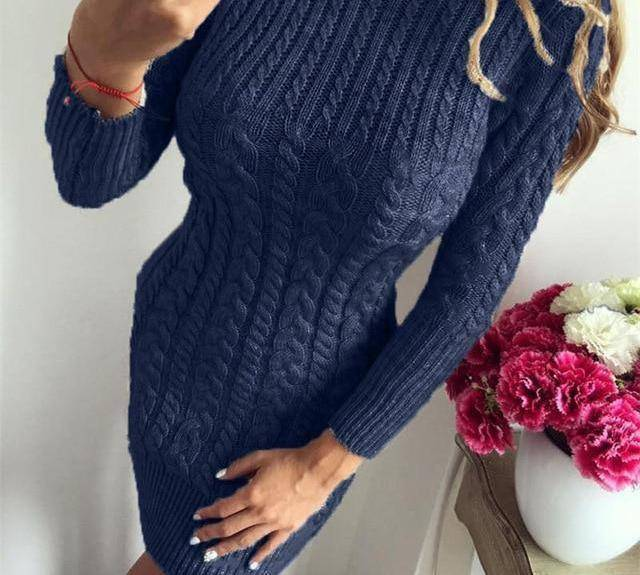 Bodycon Sweater Dress by I am Beauty™  -  Navy Blue / S  -  Sweater  - SNS Outlet
