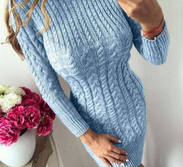Bodycon Sweater Dress by I am Beauty™  -  Sky Blue / S  -  Sweater  - SNS Outlet
