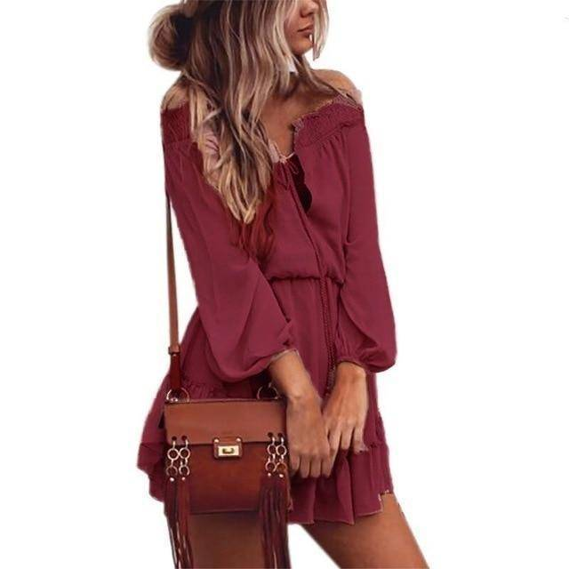 Boho Dress  -  Wine Red / S  -  Dresses  - SNS Outlet