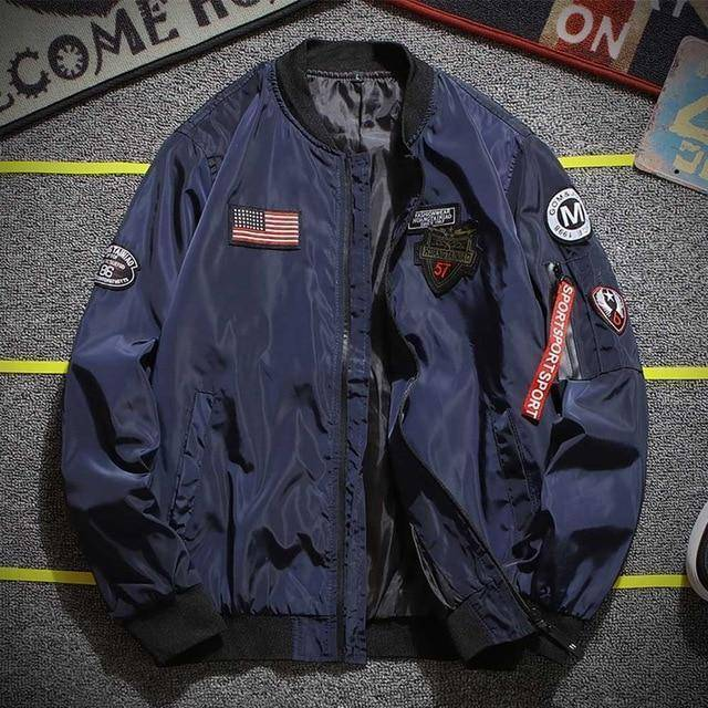 Bomber Jacket  -  Blue / M  -  Jacket  - SNS Outlet