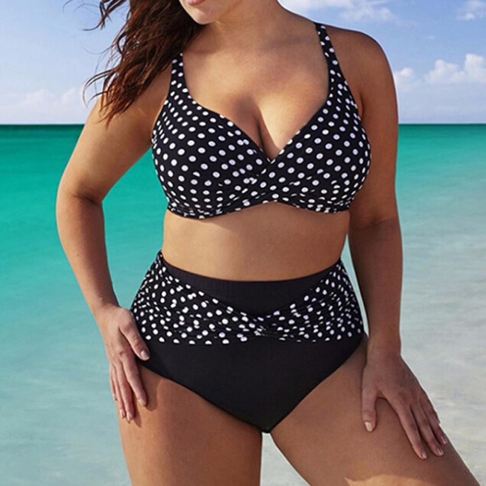 Brooke Madison -  Polka Dot Halter Top Bikini S-5XL  -  S  -  Bikinis Set  - SNS Outlet