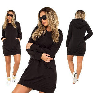 Brooklyn Casual Hoodie Dress (PLUS SIZE UP TO 6XL)  -  Black / XL  -  Hoodie Dress  - SNS Outlet