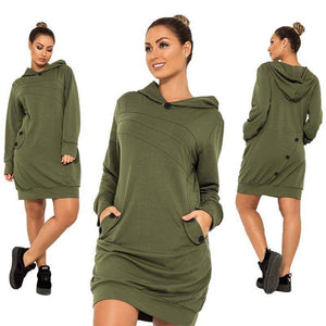 Brooklyn Casual Hoodie Dress (PLUS SIZE UP TO 6XL)  -  Green / XL  -  Hoodie Dress  - SNS Outlet