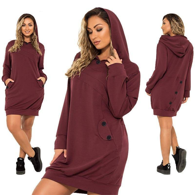 Brooklyn Casual Hoodie Dress (PLUS SIZE UP TO 6XL)  -  Maroon / XL  -  Hoodie Dress  - SNS Outlet