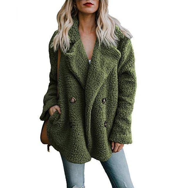 Buttoned Casual Womens Quilted Winter Coat  -  Green / S  -  Womens Winter Coats  - SNS Outlet