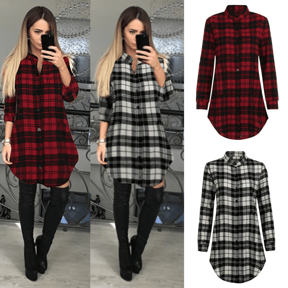 Cali Katie Long Sleeve Plaid Lattice Dress  -  Red / S  -  Dresses  - SNS Outlet
