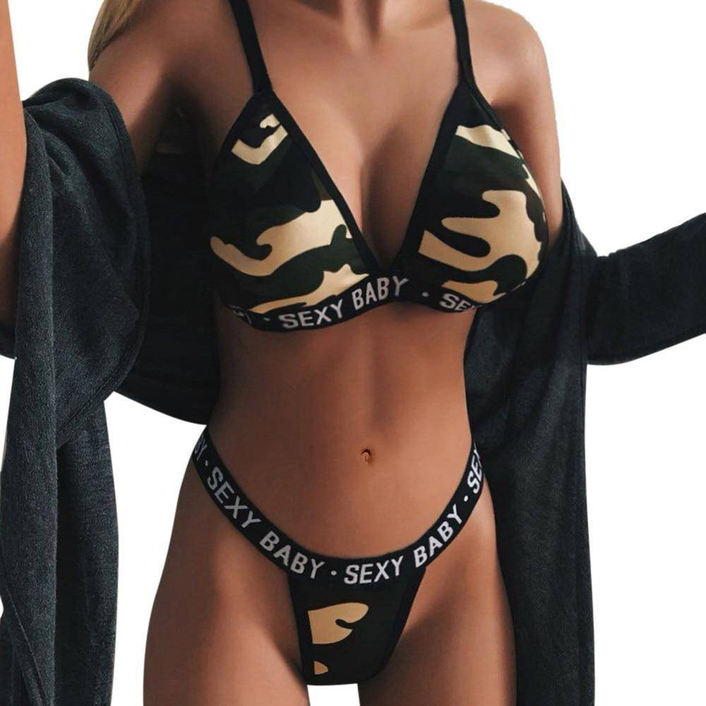Camo Temptation Bra Thong Set  -  Army Green / Small  -  Bra & Brief Sets  - SNS Outlet