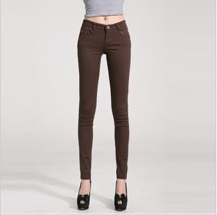 Candy Color Women's Skinny Jeans  -  coffee / 26  -  Jeans  - SNS Outlet