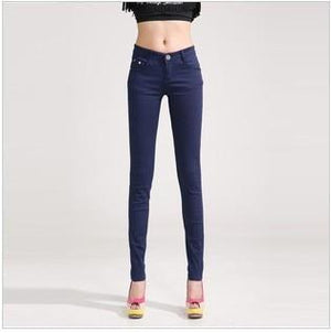 Candy Color Women's Skinny Jeans  -  dark blue / 26  -  Jeans  - SNS Outlet