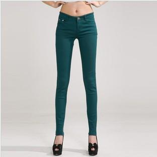 Candy Color Women's Skinny Jeans  -  dark green / 26  -  Jeans  - SNS Outlet