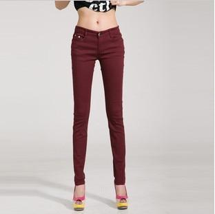 Candy Color Women's Skinny Jeans  -  dark red / 26  -  Jeans  - SNS Outlet