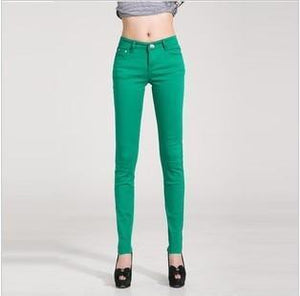 Candy Color Women's Skinny Jeans  -  grass green / 26  -  Jeans  - SNS Outlet