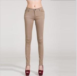 Candy Color Women's Skinny Jeans  -  khaki / 26  -  Jeans  - SNS Outlet