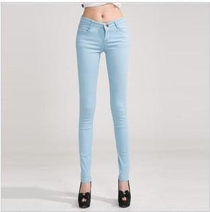 Candy Color Women's Skinny Jeans  -  navy blue / 26  -  Jeans  - SNS Outlet