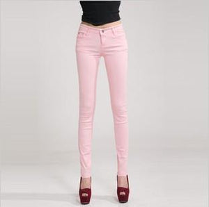 Candy Color Women's Skinny Jeans  -  pink / 26  -  Jeans  - SNS Outlet