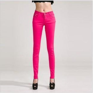 Candy Color Women's Skinny Jeans  -  rose red / 26  -  Jeans  - SNS Outlet