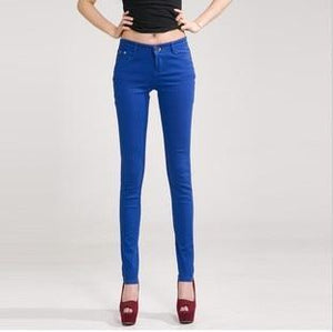 Candy Color Women's Skinny Jeans  -  sapphire blue / 26  -  Jeans  - SNS Outlet