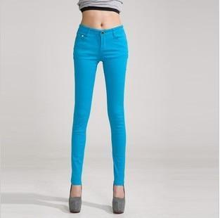 Candy Color Women's Skinny Jeans  -  sky blue / 26  -  Jeans  - SNS Outlet