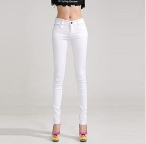 Candy Color Women's Skinny Jeans  -  white / 26  -  Jeans  - SNS Outlet