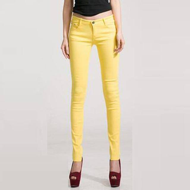 Candy Color Women's Skinny Jeans  -  yellow / 26  -  Jeans  - SNS Outlet