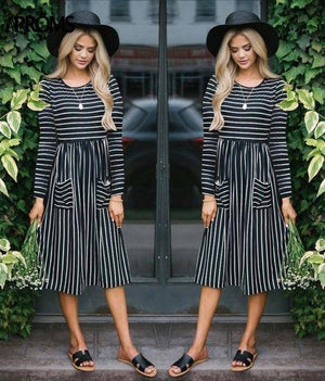 Casual Midi Dresses by Aproms™  -  Black Striped / S  -  Dresses  - SNS Outlet