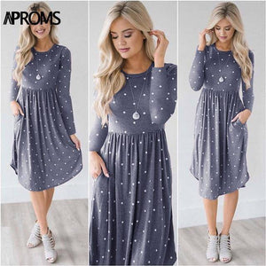 Casual Midi Dresses by Aproms™  -  Blue Polka / S  -  Dresses  - SNS Outlet