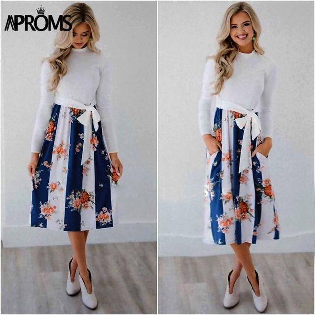 Casual Midi Dresses by Aproms™  -  Blue / S  -  Dresses  - SNS Outlet