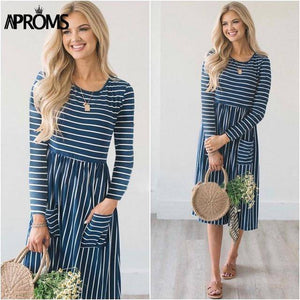 Casual Midi Dresses by Aproms™  -  Blue Striped / S  -  Dresses  - SNS Outlet