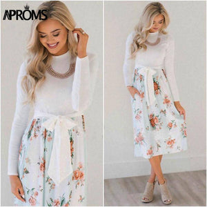 Casual Midi Dresses by Aproms™  -  Light Blue / S  -  Dresses  - SNS Outlet
