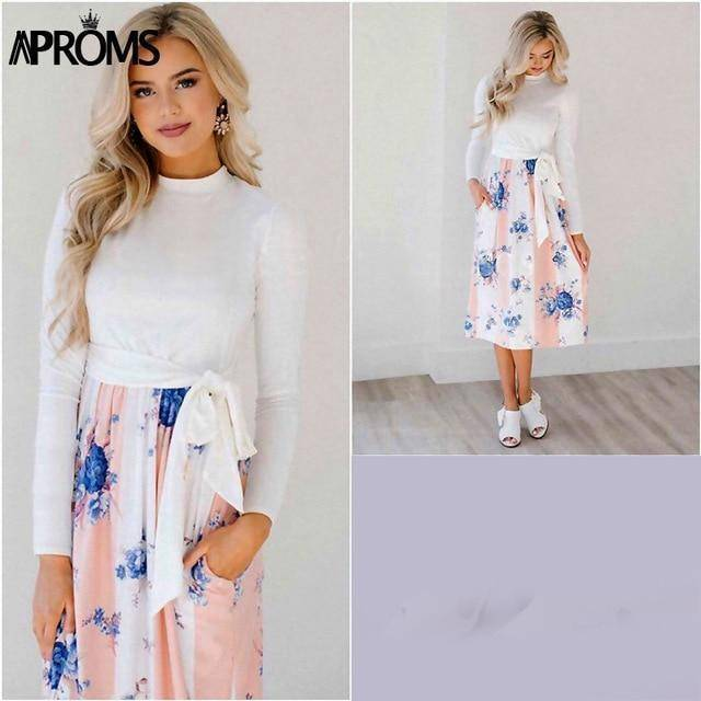 Casual Midi Dresses by Aproms™  -  Pink / S  -  Dresses  - SNS Outlet