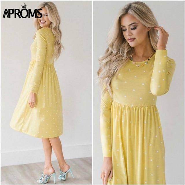 Casual Midi Dresses by Aproms™  -  Yellow / S  -  Dresses  - SNS Outlet