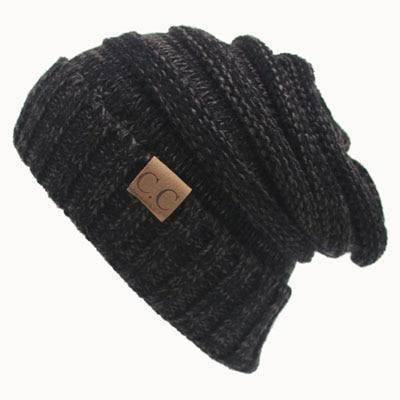 CC Beanies Wool Cap  -  Black Gray cc beanie / One Size  -   - SNS Outlet