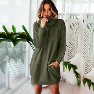 Collar Scarf Turtleneck Sweater Dress (PLUS SIZE UP TO XXXL)  -  Army Green / S  -  Pullovers  - SNS Outlet
